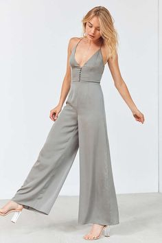 7e22c7b65a1d Slide View  1  Finders Keepers Spectral Button Satin Jumpsuit grey UO Satin  Jumpsuit