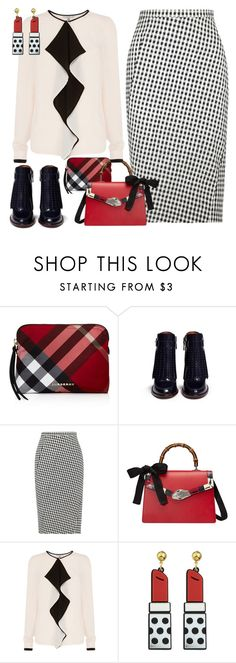 """Black/White/Red"" by petalp ❤ liked on Polyvore featuring Burberry, Tory Burch, Altuzarra, Gucci, Coast and ootd"