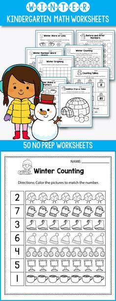 Winter Activities For Kindergarten (Math No Prep) - Winter Worksheets perfect for preschool, kindergarten or first grade kids. This worksheets feature polar bears, snowflakes, snowman and other adorable winter pictures. Great for morning work or early finishers. Winter math ideas including ten frames, place value, skip counting, tally marks, and 10 frames worksheets. Fun for students and print and go for teachers. #kindergarten #worksheet #free #math