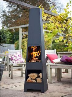 (free Cover) La Hacienda Malmo Steel Chiminea Chimenea Patio Heater With  Wood Store