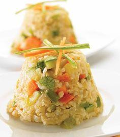 Arroz integral con verduras y huevo