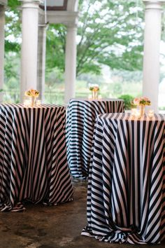 Connecticut Wedding at Eolia Mansion from Katie Stoops Photography Decoration Table, Reception Decorations, Event Decor, Gala Decor, Reception Ideas, Wedding Centerpieces, Striped Table, Striped Linen, Wedding Table