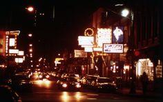 Greektown lights up at night, 1977.
