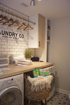 Our new modern farmhouse laundry room makeover sneak peek full of budget-friendl. Our new modern farmhouse laundry room makeover sneak peek full of budget-friendly DIYs and tips for keeping your laundry smelling fresh. Mudroom Laundry Room, Laundry Room Remodel, Laundry Room Cabinets, Laundry Room Design, Laundry Room Organization, Kitchen Remodel, Laundry Shelves, Diy Cabinets, Laundry Decor