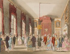 Regency History -- When was the London season? by Rachel Knowles (Image is A Drawing Room at St James' Palace from The Microcosm of London Fine Art Prints, Framed Prints, Canvas Prints, St James's Palace, Poster Drawing, Card Drawing, Court Dresses, Regency Era, Saint James