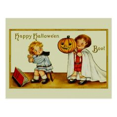 Vintage Happy Halloween cute funny kids scare Postcard