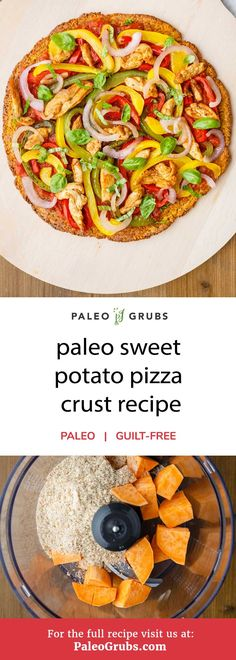 hink you can't enjoy pizza just because you are on a paleo diet? Think again. All you really have to do in order to continue to enjoy pizza night is find a way to make the crust grain-free. That's exactly what this paleo sweet potato pizza crust recipe does. It makes a healthy, gluten-free pizza crust and then makes a delicious buffalo chicken style pizza with it.
