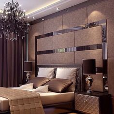 A fascinating combination of contrasts and shapes that categorizes it in a Luxury Bedroom. Modern Luxury Bedroom, Luxury Bedroom Furniture, Master Bedroom Interior, Luxury Bedroom Design, Master Bedroom Design, Luxurious Bedrooms, Home Bedroom, Home Interior Design, Bedroom Decor