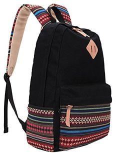 9423cd33a1 Hmxpls Unisex Fashionable Canvas Zip Bohemia Boho Style Backpack School  College Laptop Bag for Teens Girls