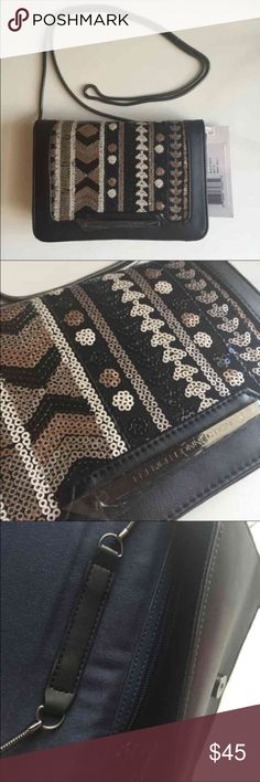 """French Connection Crossbody Bag French connection   • Faux leather & sequin trim  • Magnetic snap closure  • Crossbody strap : 23inch  • Size : 7-1/2""""W x 5-1/4""""H x 1-1/2""""D   Wear as a clutch and a crossbody  Brand new Bags Crossbody Bags"""