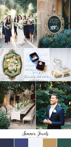 Summer Jewels - Garden Wedding Inspiration in Midnight Blue & Emerald
