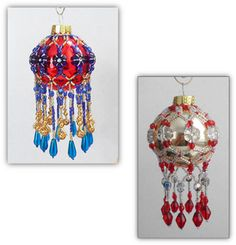 Fringe Beaded Mini Christmas Ornament Cover Pattern by Alicia Mera Sova at Bead-Patterns.com