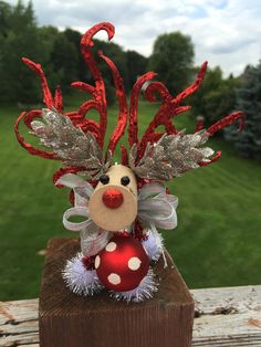 Cute Red and Silver Wine Cork Reindeer by ReindeerLove on Etsy