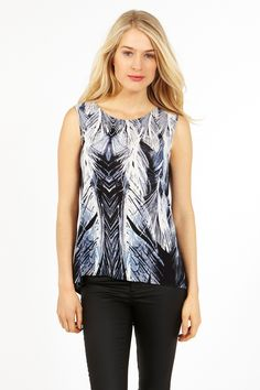 Feather Print Pleat Back Top