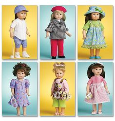 New and Factory Folded! McCalls 3900 18in Doll Clothes Patterns 6 Cute Designs