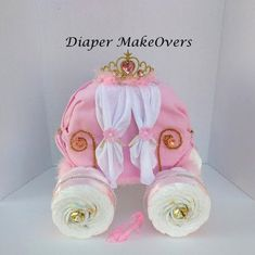 Gold Princess Carriage - Princess Diaper Cake - Unique Baby Girl Baby Shower - Cinderella Carriage - Baby Shower Centerpiece