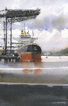 Iain Stewart Watercolors Port of Tacoma, WA 10 x 6
