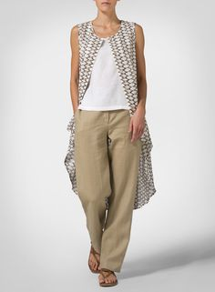 Linen Khaki Beige Net Pattern, Hi-lo Long Vest - Stand out in the crowd when you sport this relaxed fit A-line silhouette. Edgy yet simple for a chic look with an eye-catching front scoop hem.