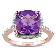 Miadora 10k Rose Gold Amethyst and 1/10ct TDW Diamond Ring (H-I, I2-I3) | Overstock.com Shopping - The Best Deals on Gemstone Rings