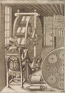 The bookwheel (also written book wheel and sometimes called a reading wheel) is a type of rotating bookcase designed to allow one person to read a variety of heavy books in one location with ease. The books are rotated vertically similar to the motion of a water wheel, as opposed to rotating on a flat table surface. The design for the bookwheel originally appeared in a 16th-century illustration by Agostino Ramelli. Since then, Ramelli's design has influenced other artists and engineers.