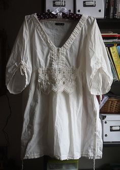 Ivory white dress tunic cotton rustic vintage by GreenHouseGallery
