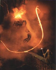 """The Balrog reached the bridge.  Gandalf stood in the middle of the span, leaning on the staff in his left hand, but in the other hand Glamdring gleamed, cold and white.  His enemy halted again, facing him, and the shadow about it reached out like two vast wings.  It raised it's whip, and the thongs whined and cracked.  Fire came from it's nostrils.  But Gandalf stood firm."""