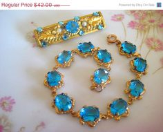 Vintage Bracelet Aqua Rhinestones CIJ Sale by VintageJewelryMeadow, $35.70