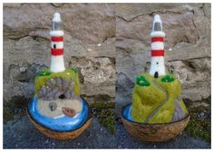 Needle felted 'In a nutshell' lighthouses - SShaw