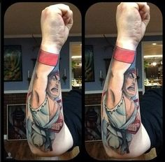 Amazing Street Fighter fist tattoo by Mike Schwab at Heritage Tattoo in Las Vegas, NV Gamer Tattoos, Badass Tattoos, 3d Tattoos, Tattos, Crazy Tattoos, Fighter Tattoos, Color Tattoos, Cartoon Tattoos, Funny Tattoos