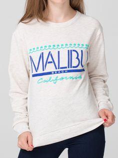American Apparel - Unisex Screen Printed Drop Shoulder Sweater - Malibu Local