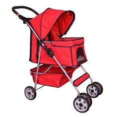 Pet Stroller Cat Dog Cage Travel Folding Carrier 4 Wheels Red -431 >>> Be sure to check out this awesome product. (This is an affiliate link and I receive a commission for the sales)