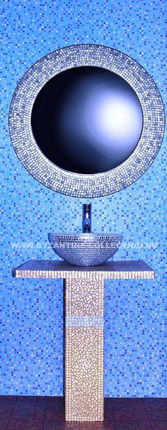 """Комплект мебели для ванной с раковиной чашей и зеркалом из смальты белого золота """"Золото Флоренции"""""""