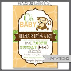 Set of 12 Personalized Monkey Baby Shower Invitations Gender Neutral in Yellow, Green and Brown by HeadsUpGirls on Etsy, $18.00
