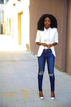 White blazer, denim jeans