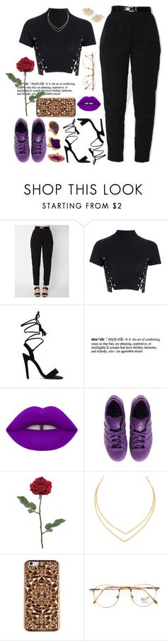 """""""Purple Rain / R.I.P Prince 💜🌹"""" by love-rebelwolf ❤ liked on Polyvore featuring Glamorous, Lamoda, Lime Crime, adidas, Lana, Felony Case, Persol and Sutra"""