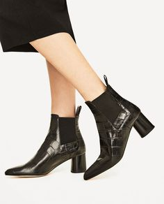 EMBOSSED LEATHER HIGH HEEL ANKLE BOOTS-Boots and ankle boots-SHOES-WOMAN | ZARA United Kingdom