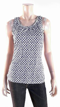 Merona Womens Size S Cami Tank Top Pull Over Scoop Neck Ruched Geometric Chop