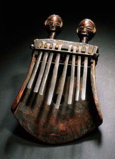 "Africa | Lamellophone, or ""thumb piano"" (kasanji) from the Luba people of DR Congo 