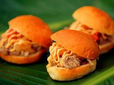 Kalua Pork Sliders Recipe served at Food and Wine Festival  in EPCOT at Disney World - Pork Sliders with Pineapple Chutney and Spicy Mayonnaise on Pineapple-Brioche Buns - bjl