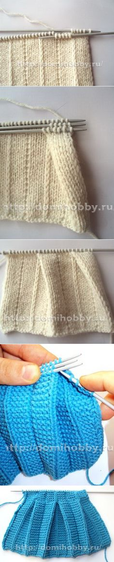 "Knitting with the effect of ""pleated"" folds"