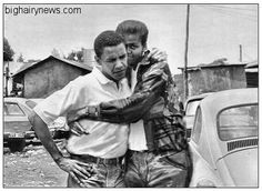 "Barack Obama and boyfriend Homosexual Photos Of Obama Surface  CHICAGO (BHN) - Long-held rumors that Barack Obama is at least bisexual have apparently been verified by recently found photos showing a young Obama cuddling an unidentified large man.  ""The man appears to be of African descent, and in his early twenties,"" said a photographic expert who reviewed the pictures.  So far the White House has refused to comment on the images."