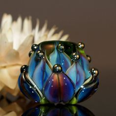 purple water lily bead  handmade glass bead SRA von CorneliaLentze, $24,00