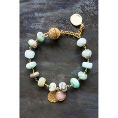 Felicity Peru Opal Gold Bracelet with Pink Charm