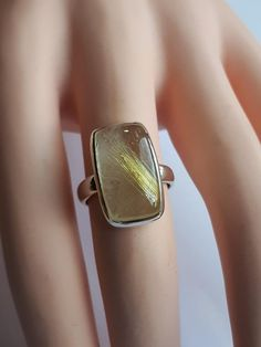 Rutilated quartz ring size 7 set in 92.5 sterling
