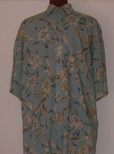 Mens Hawaiian Shirt Tropical Blue Orchid Dragon Lily Size L Croft and  Barrow #CroftBarrow #Hawaiian