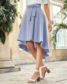 Striped drop hem cotton skirt - White   Skirts   Ted Baker