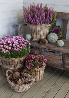 Baskets are a great idea for deck and patio decor.