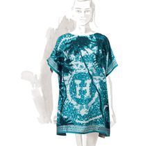 """Beverly Hills beach tunic Hermes beach tunic in turquoise with """"Beverly Hills"""" scarf print on twill, one size"""