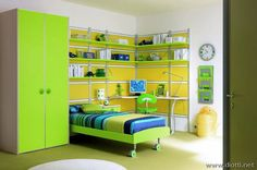 Modern Kids Bedroom Interior Design With Many Shelves On It - Interior Design   Exterior Design   Office Design   Home Design