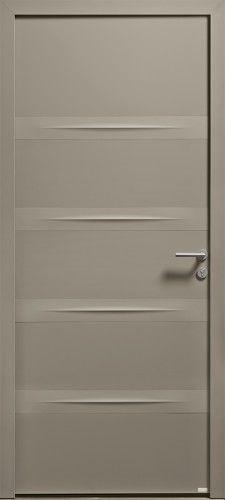 Modèle Dune Porte d'entrée aluminium contemporaine sans vitrage Une porte pleine en Alu 80, présentant des lignes et reliefs subtils ton sur ton avec un effet de matière texturée.